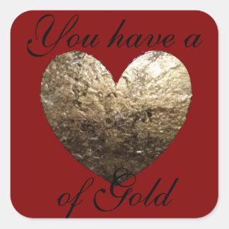 Adesivo Quadrado Coração de ouro