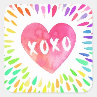 Adesivo Quadrado Coração de XoXo