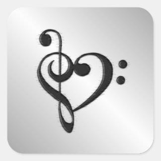 Adesivo Quadrado Coração do Clef da música