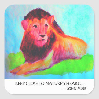 Adesivo Quadrado Coração do leão - conservação John Muir do animal