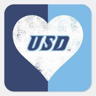 Adesivo Quadrado Coração do vintage de USD