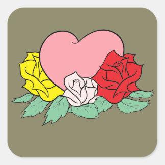 Adesivo Quadrado Coração e rosas