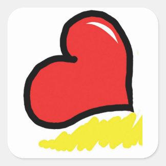 Adesivo Quadrado coração feliz vermelho