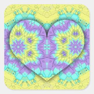 Adesivo Quadrado Coração festivo vibrante do Pastel 3d dado forma