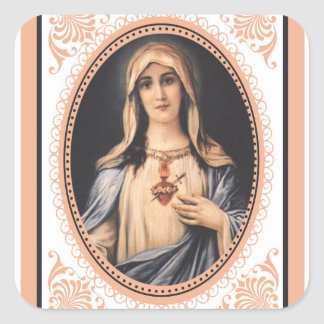 Adesivo Quadrado Coração imaculado do vintage de Mary