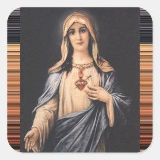 Adesivo Quadrado Coração imaculado & doloroso do vintage de Mary