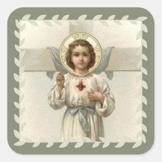 Adesivo Quadrado Coração sagrado da criança Jesus com cruz