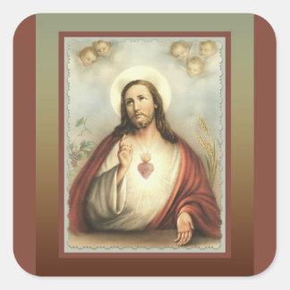 Adesivo Quadrado Coração sagrado de anjos do querubim de Jesus