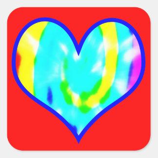 Adesivo Quadrado Coração tingido laço