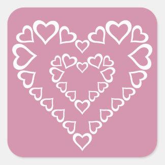 Adesivo Quadrado Corações brancos do coração