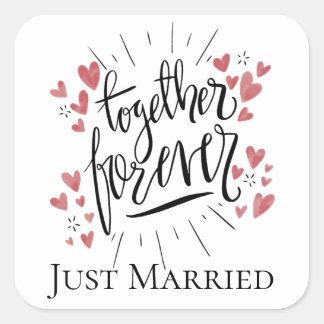 Adesivo Quadrado Corações cor-de-rosa do recem casados para sempre