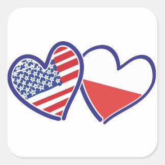 Adesivo Quadrado Corações da bandeira do Polônia dos EUA