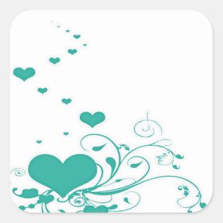 Adesivo Quadrado Corações dos namorados de água-marinha em um fundo