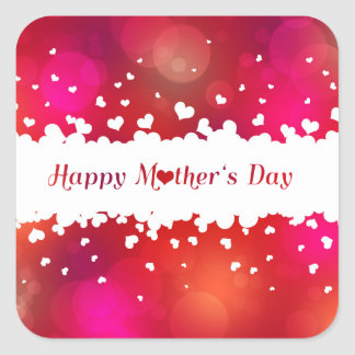 Adesivo Quadrado Corações felizes bonitos do dia das mães -