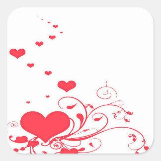 Adesivo Quadrado Corações vermelhos dos namorados em um fundo