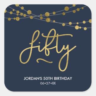 Adesivo Quadrado Cordas azuis elegantes da festa de aniversário das