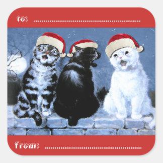 Adesivo Quadrado Coro dos gatos do Natal de Wain do vintage