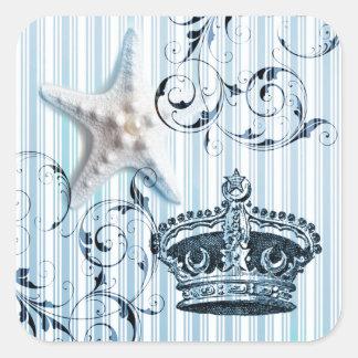 Adesivo Quadrado coroa do seashell da estrela do mar das listras de