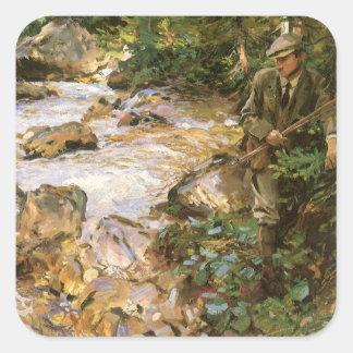 Adesivo Quadrado Córrego da truta no Tirol por John Singer Sargent