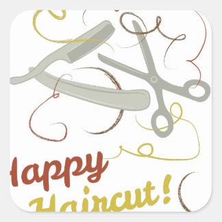 Adesivo Quadrado Corte de cabelo feliz