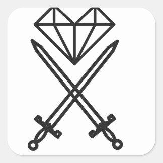 Adesivo Quadrado Corte do diamante
