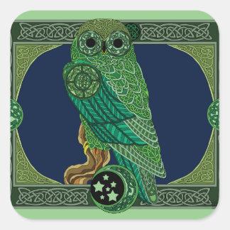 Adesivo Quadrado Coruja verde celta
