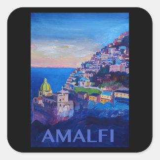 Adesivo Quadrado Costa retro Italia de Amalfi do poster