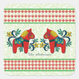Adesivo Quadrado Costume gêmeo colorido do Natal dos cavalos de