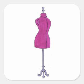 Adesivo Quadrado Costureira do manequim do rosa do estilista da