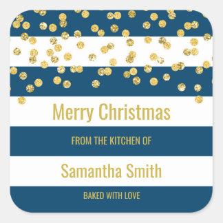 Adesivo Quadrado Cozimento do Natal dos confetes do ouro das