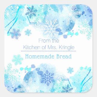 Adesivo Quadrado Cozinha de flocos de neve azuis do inverno das