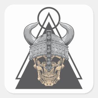 Adesivo Quadrado Crânio de Viking