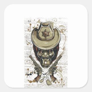 Adesivo Quadrado crânio do vaqueiro do macaco com armas gêmeas