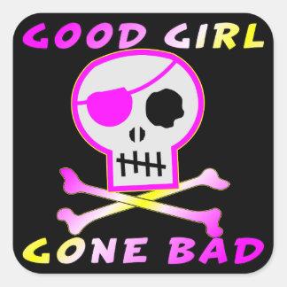 Adesivo Quadrado Crânio mau ido boa menina do pirata