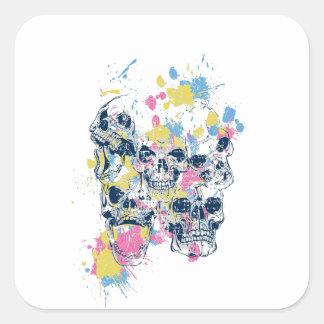 Adesivo Quadrado crânios coloridos do vintage