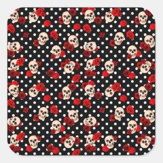 Adesivo Quadrado Crânios e rosas