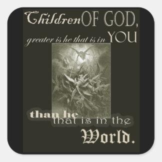 Adesivo Quadrado Crianças do deus