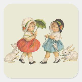 Adesivo Quadrado Crianças e coelhos do vintage