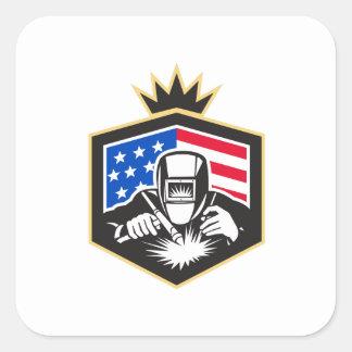 Adesivo Quadrado Crista da bandeira dos EUA da soldadura de arco do