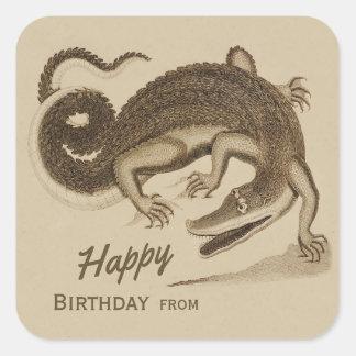 Adesivo Quadrado Crocodilo alegre selvagem CC0892 do feliz
