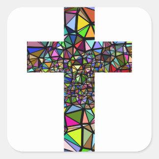 Adesivo Quadrado Cruz abstrata do cristo do Natal