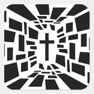 Adesivo Quadrado Cruz cristã