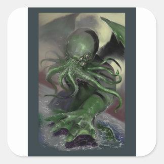Adesivo Quadrado Cthulhu cavalo-força de aumentação Lovecraft