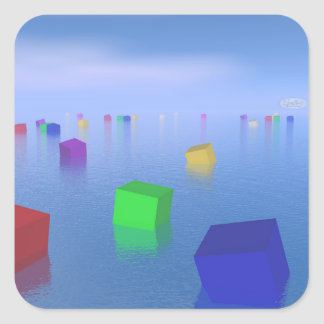 Adesivo Quadrado Cubos coloridos que flutuam - 3D rendem
