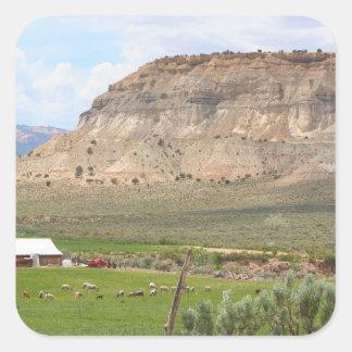 Adesivo Quadrado Cultivando o país e as colinas, Utá do sul