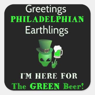 Adesivo Quadrado Cumprimentos Philadelphians do dia de Patrick!