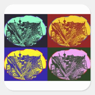 Adesivo Quadrado cup - city 3 point art perspective style pop