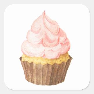 Adesivo Quadrado cupcake cor-de-rosa