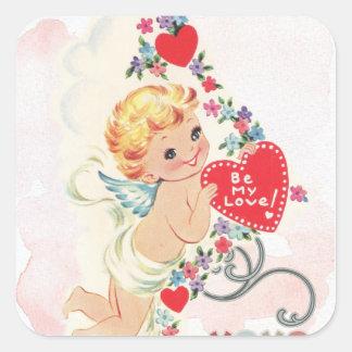 Adesivo Quadrado Cupido com coração vermelho