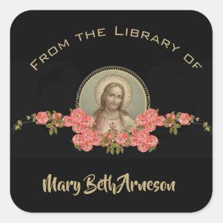 Adesivo Quadrado Da biblioteca… do coração sagrado de Jesus